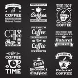 Ensemble de labels de vintage de café Photographie stock libre de droits
