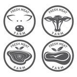 ensemble de labels de vintage de viande Images libres de droits