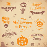 Ensemble de labels et d'éléments de Halloween Illustration de vecteur Dirigez le descripteur pour la conception Photos stock