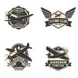 Ensemble de labels et d'emblèmes de club de vol Images libres de droits