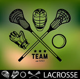 Ensemble de labels et d'insignes de lacrosse de vintage Photo libre de droits