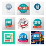 Ensemble 2018 de labels et de timbres plats de bonne année Images libres de droits