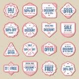 Ensemble de labels gratuits de vente au rabais, de bannière et d'ensemble de vecteur d'insignes Images stock