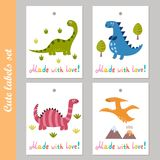 Ensemble de labels mignon avec les dinosaures drôles Image stock