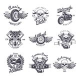 Ensemble de labels monochrome de moto de vintage illustration libre de droits