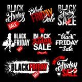 Ensemble de labels noir de vente de vendredi illustration libre de droits