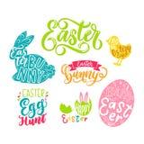 Ensemble de labels de Pâques avec le lettrage Éléments tirés par la main pour Easte illustration libre de droits