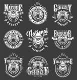 Ensemble de labels de parc national de Yellowstone de cru illustration stock