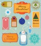 Ensemble de labels pendant Noël et la nouvelle année Image stock
