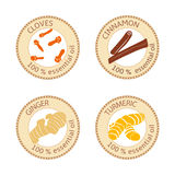 Ensemble de labels plats d'huile essentielle 100 pour cent Clous de girofle, cannelle, gingembre, safran des indes Photo libre de droits