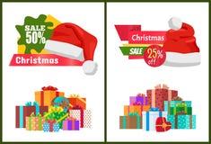 Ensemble de labels de promo d'affiches de vente de Noël d'annonces Images libres de droits