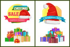 Ensemble de labels de promo d'affiches de vente de Noël d'annonces Photographie stock