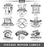 Ensemble de labels de réparation de vintage vol. 2 illustration de vecteur