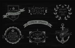Ensemble de labels tirés par la main de vintage Calibres pour la conception des labels, emblèmes, logotypes Illustration de vecte illustration stock