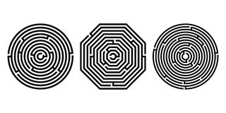 Ensemble 3 de labyrinthe - labyrinthe sur le fond blanc Illustration de jeu éducatif d'enfants, pour des livres d'enfants et des  illustration de vecteur