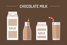 Ensemble de lait chocolaté dans différents paquets Photographie stock libre de droits