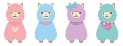 Ensemble de lama de quatre illustrations animales colorées en pastel pelucheuses différentes de vecteur d'alpaga illustration libre de droits