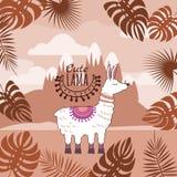 Ensemble de lamas mignons, ornement floral, fond, paysage de montagne, d'isolement, vecteur, illustration illustration stock