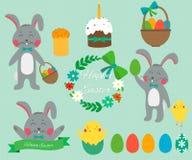 Ensemble de lapins mignons de Pâques avec des oeufs de pâques Vecteur Image stock