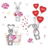 Ensemble de lapins, de perruches, de fleurs, de ballon et de chocolat d'isolement illustration stock