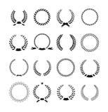 Ensemble de laurier noir et blanc de circulaire de silhouette Photos stock