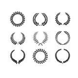 Ensemble de laurier noir et blanc de circulaire de silhouette illustration stock