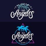 Ensemble de lettrage écrit par main de Los Angeles pour la carte, conception d'impression de pièce en t Photos libres de droits