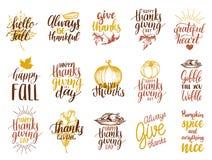 Ensemble de lettrage et d'illustrations pour le jour de thanksgiving Dirigez les labels tirés et manuscrits de l'automne heureux  illustration stock