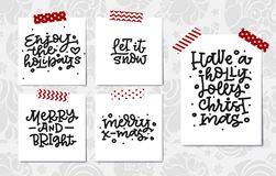 Ensemble de lettrage de main de Noël Joyeux Noël Joyeux et lumineux Ayez Holly Jolly Christmas Laissez lui neiger Photos libres de droits