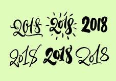 Ensemble de lettrage 2018 Nombres tirés par la main de calligraphie de 2018 ans Collection moderne de style Inscriptions uniques  Photos stock