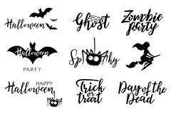 Ensemble de lettrage de vecteur de Halloween Images stock