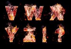 Ensemble de lettres brûlantes d'enfer Images libres de droits
