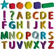 Ensemble de lettres de l'alphabet 3d, de formes de base et de signes de ponctuation Photographie stock