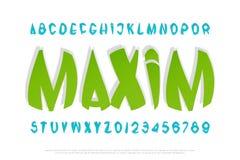 Ensemble de lettres et de nombres stylisés d'alphabet Image libre de droits