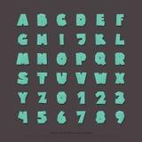Ensemble de lettres et de nombres stylisés d'alphabet vecteur, type de police de style de bande dessinée Images stock