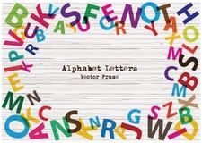Ensemble de lettres lumineuses d'alphabet de vecteur sur le fond en bois de texture L'alphabet plat de conception d'arc-en-ciel m Image stock