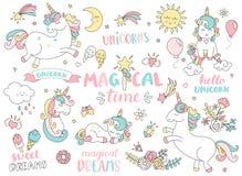 Ensemble de licornes et d'autres éléments magiques Images stock