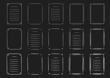 Ensemble de ligne et de cadres tirés par la main et listes sur le tableau Photographie stock