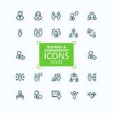 Ensemble de ligne fine icônes, collection d'illustrations de vecteur de gens d'affaires d'icônes, gestion du personnel Photographie stock libre de droits