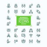 Ensemble de ligne fine icônes, collection d'illustrations de vecteur de gens d'affaires d'icônes, gestion du personnel Image libre de droits