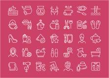 Ensemble de ligne icônes de santé et de beauté illustration libre de droits