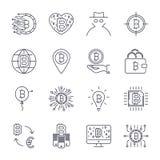 Ensemble de ligne ic?nes de bitcoin de vecteur Investissements, paiements et ?change, op?rations bancaires d'Internet, portefeuil illustration stock