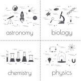 Ensemble de ligne icônes Concept éducatif et de la science D'isolement sur le fond blanc Matières d'enseignement Photos libres de droits