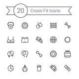 Ensemble de ligne icônes d'équipement de gymnase de crossfit des haltères, fitball, protéine, chronomètre, sac de sable, vêtement Images libres de droits