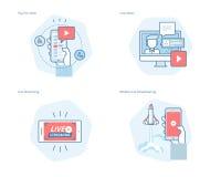 Ensemble de ligne icônes de concept pour couler vivant, radiodiffusion mobile, salaire par vue, vidéo en ligne, actualités Photographie stock