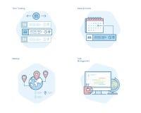 Ensemble de ligne icônes de concept pour le directeur de temps, les actualités et les événements, meetup, supervision des travaux Photos libres de droits