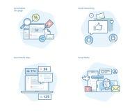 Ensemble de ligne icônes de concept pour le media, la mise en réseau, le marketing, la campagne et les apps sociaux Images libres de droits