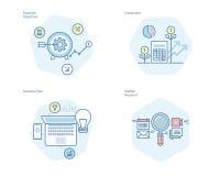 Ensemble de ligne icônes de concept pour le plan d'action et les objectifs, recherche de marché, investissement Images libres de droits