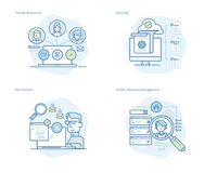 Ensemble de ligne icônes de concept pour les ressources humaines, recrutement, gestion d'heure, carrière Image libre de droits