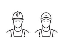 Ensemble de ligne icônes de constructeurs Photo stock